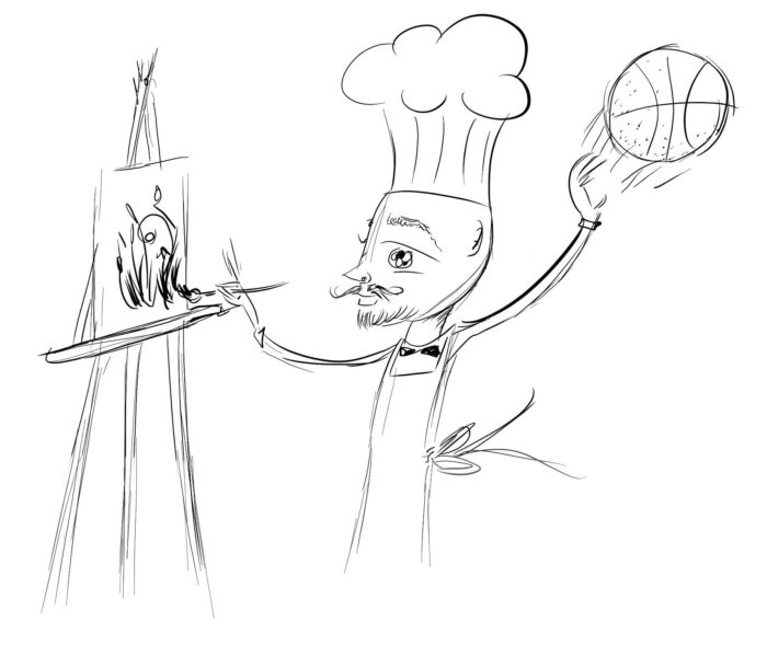 The software generalist is like this guy, who wears a chef outfit while painting and shooting a basketball.